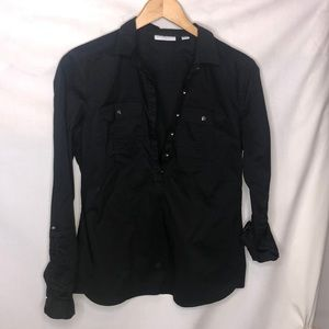 Black New York and Company button up roll up top